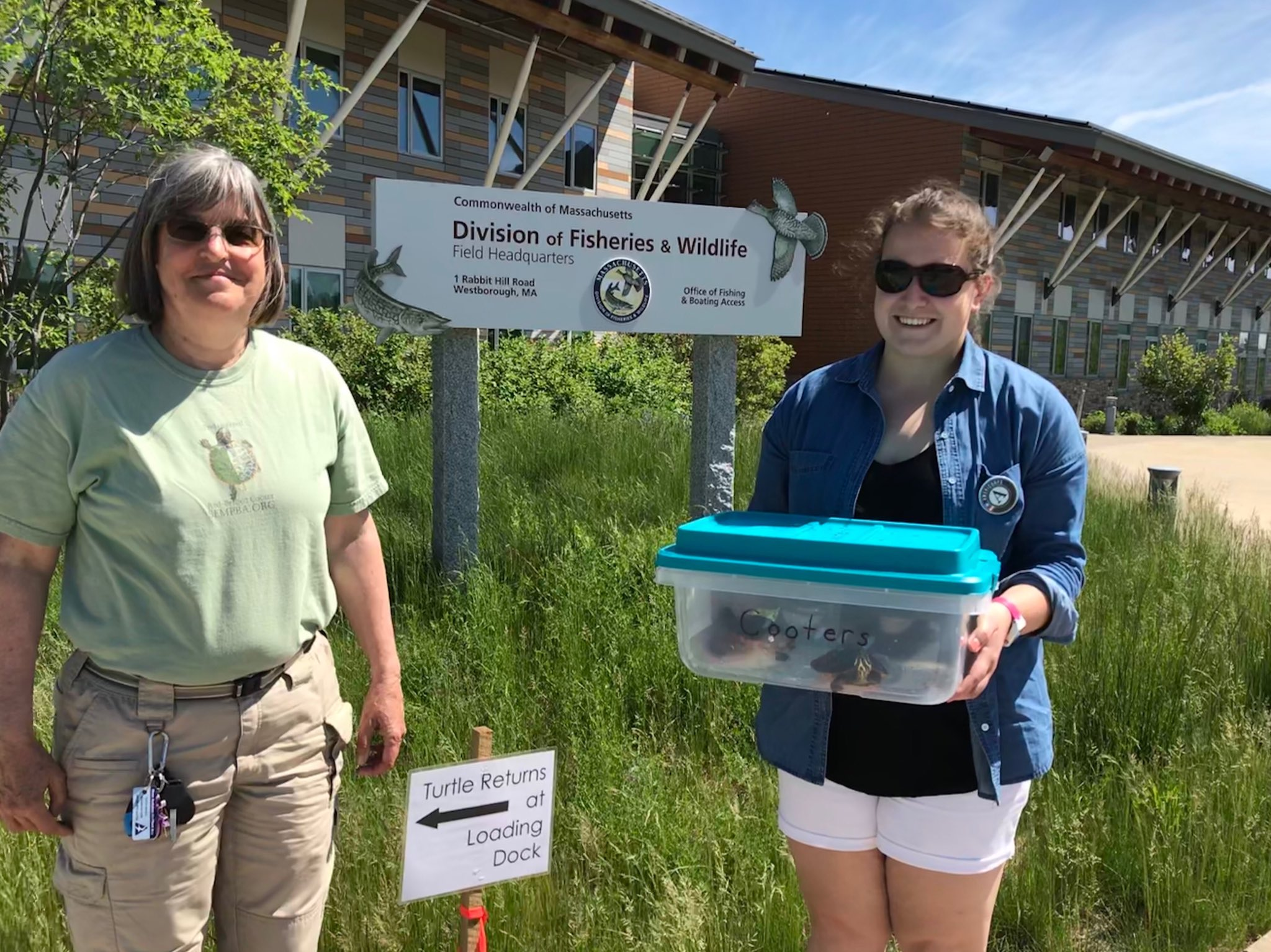 Lisa and Molly turning in the 2018 turtles at MassWildlife headquarters.